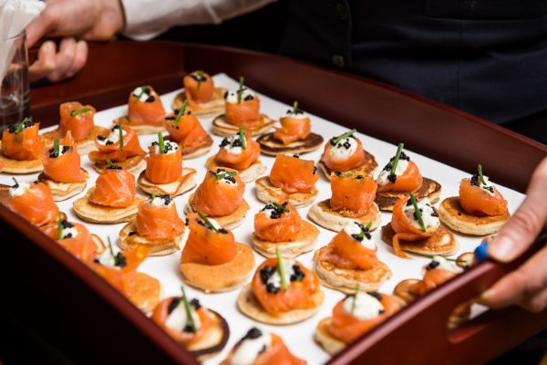 Smoked salmon blinis, creme fraiche and caviar (2)