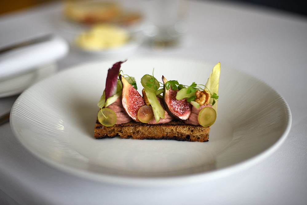 Whipped chicken liver parfait, black figs & waldolf salad. Hart's Nottingham
